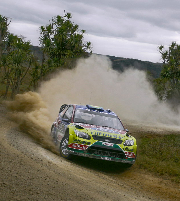 Latvala drives his Ford Focus RS Rally car at WRC Rally New Zealand