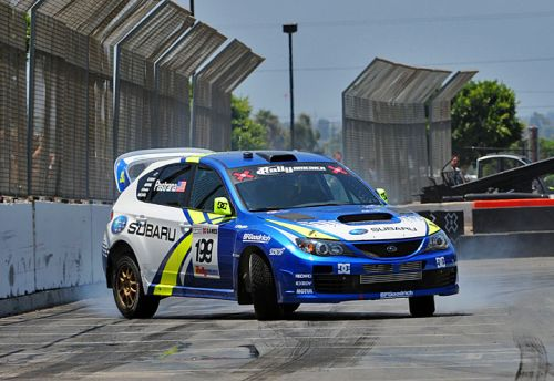 Travis Pastrana competes in his Subaru STi at the 2009 X Games