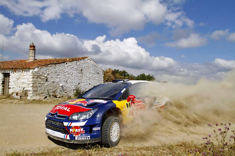 Sebastien Ogier drives his Citroen C4 at the WRC Vodafone Rally de Portugal