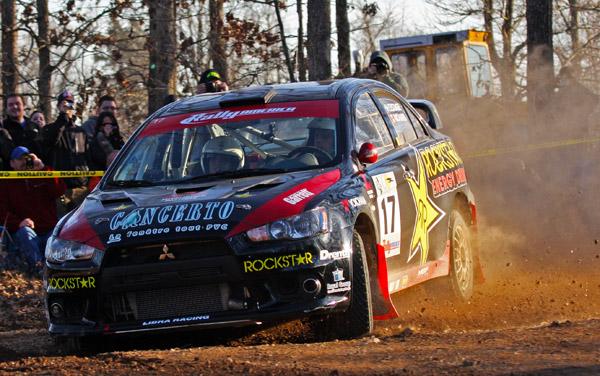 L'Estage Drives His Rockstar Energy Mitsubishi EVO to the 2010 Rally America Championship