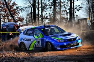 Travis Pastrana 199 drives his Subaru Rally Car at 100 Acre Wood