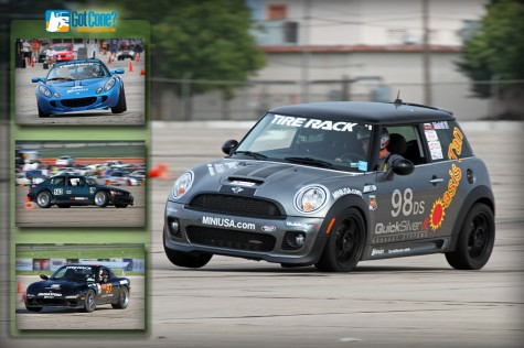 Craig Wilcox gets his DS Mini Cooper on 2 wheels at the 2011 SCCA ProSolo Finale