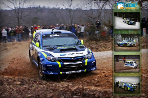 David Higgins at 100 Acre Wood Rally in his Subaru Rally Team car