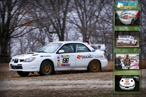 Travis Pastrana makes an appearance at the 2011 100 Acre Wood Rally in a Boost Mobile Subaru STi