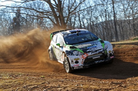 Ken Block drives his Monster World Rally Team Ford Fiesta to a 6th victory at Rally in the 100 Acre Wood