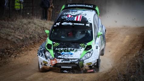 Ken Block lands his Monster World Rally Team Ford Fiesta hard