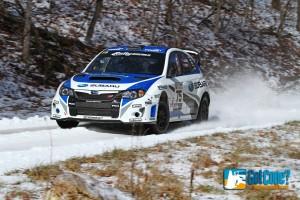 David Higgins pilots his Subaru STi to victory at 100 Acre Wood Rally