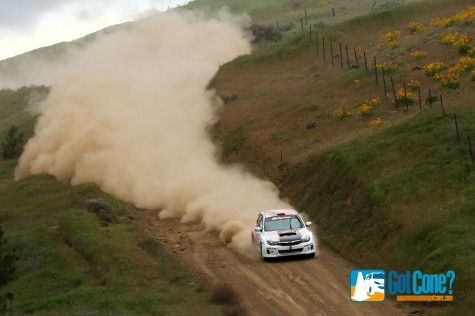 Dillon Van Way kicking up a bunch of dust at Oregon Trail Rally