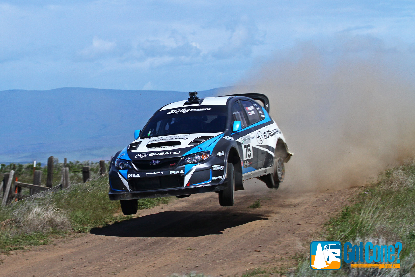David Higgins jumps his Subaru Rally Car with only 3 tires.
