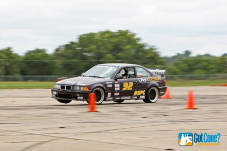 BMW M3 using the grip at 2014 Solo Naitonal Championships to 2 wheel it to the finish
