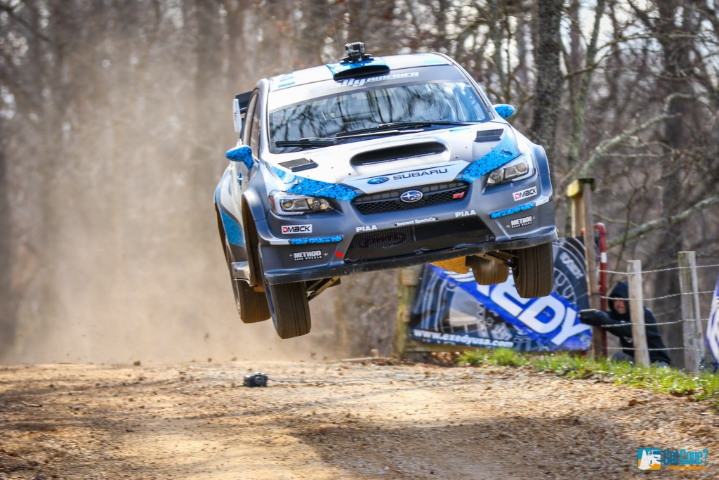 David Higgins 75 Subaru flying through the air