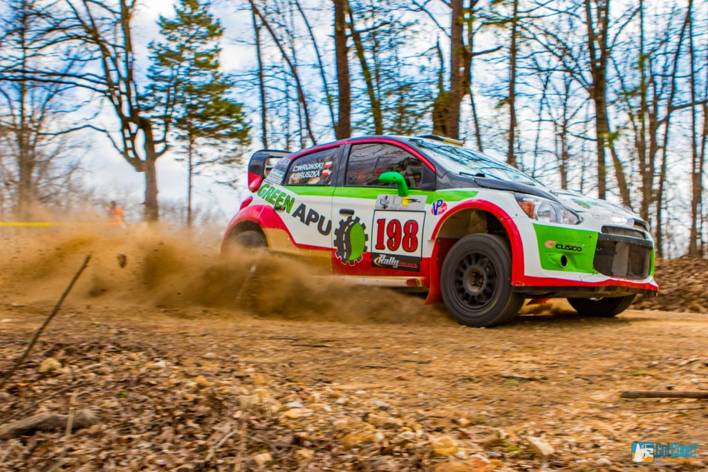 Art Gruszka pilots his Mitsubishi Mirage RS to victory