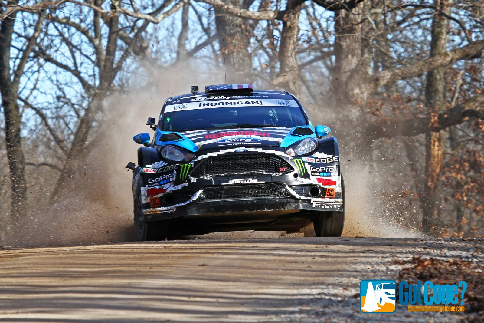 Ken Block took home the victory at 2014 Rally in the 100 Acre Wood in his Hoonigan Racing Ford Fielsta